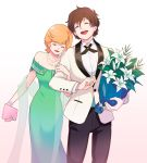 1boy 1girl aiya_kyuu banagher_links bare_shoulders bouquet bracelet brown_hair closed_eyes flower formal gundam gundam_unicorn holding holding_bouquet jewelry laughing locked_arms looking_down looking_up mineva_lao_zabi necklace open_mouth orange_hair pearl_bracelet pearl_necklace short_hair suit walking