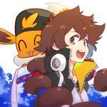 1girl :d ^_^ backwards_hat baseball_cap black_headwear brown_eyes brown_hair closed_eyes commentary eevee english_commentary gen_1_pokemon gotcha! gotcha!_girl_(pokemon) hair_between_eyes hair_through_headwear hat hatted_pokemon jacket kariki_hajime long_hair looking_at_viewer open_mouth pokemon pokemon_(creature) smile tied_hair tongue twintails twitter_username upper_body upper_teeth