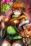 1girl archfiend_marmot_of_nefariousness aussa bangs belt breasts brown_eyes brown_hair brown_robe buck_teeth claws closed_eyes duel_monster english_commentary glasses green_sweater hatano_kiyoshi holding holding_staff hood hood_down hooded_robe horns ribbed_sweater ribbon robe short_hair shorts single_horn smile staff sweater turtleneck wings yuu-gi-ou