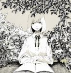 1girl bangs blunt_bangs book commentary_request expressionless garden greyscale highres kumamiso_0514 looking_at_viewer medium_hair monochrome open_book original outdoors shaded_face shirt sitting solo upper_body white_hair