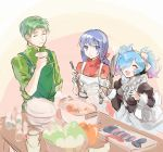 1boy 2girls alternate_costume apron blue_eyes blue_hair caeda_(fire_emblem) closed_eyes closed_mouth fire_emblem fire_emblem:_mystery_of_the_emblem fire_emblem:_path_of_radiance fire_emblem_fates fire_emblem_heroes gem green_hair hair_over_one_eye highres holding holding_knife hukashin knife ladle long_hair long_sleeves maid multicolored_hair multiple_girls open_mouth oscar_(fire_emblem) peri_(fire_emblem) pink_hair plate short_hair smile twintails