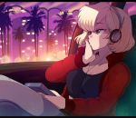 1girl blonde_hair borrowed_character breasts building car_interior city commentary crop_top crossed_legs english_commentary green_eyes hand_on_own_face headphones jacket long_sleeves looking_away merunyaa original palm_tree red_jacket sammy_(bestsammy) short_hair sitting small_breasts solo sunset tree