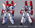 00kaiser character_name clenched_hands core_gundam_ii crossover fusion gradient gradient_background gundam gundam_build_divers gundam_build_divers_re:rise highres jetfire mecha mechanical_wings multiple_views no_humans transformers variations visor wings