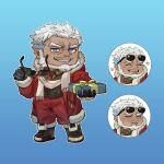 1boy aegir_(tokyo_houkago_summoners) bara beard blue_eyes chibi dark_skin dark_skinned_male expressions eyewear_removed facial_hair full_body highres ina_zuma jewelry male_focus manly muscle official_alternate_costume santa_costume scarf shoes short_hair single_earring smirk tokyo_houkago_summoners white_hair white_scarf