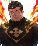 1boy bara black_bodysuit black_hair bodysuit chest covered_abs facial_hair fire halo hiraga0613 looking_at_viewer male_focus muscle short_hair solo stubble tokyo_houkago_summoners upper_body yellow_eyes zabaniya_(tokyo_houkago_summoners)