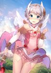 1girl angel_wings back_bow blue_eyes blush bow bridal_gauntlets clenched_hand commentary_request cowengium dress frills grey_hair hand_up head_wings heart highres holding holding_staff looking_at_viewer navel nose_blush open_mouth outdoors overskirt princess_connect! princess_connect!_re:dive short_hair_with_long_locks solo staff thigh-highs wings yori_(princess_connect!)