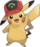 :3 arm_up artist_request baseball_cap black_eyes blush_stickers clothed_pokemon full_body gen_1_pokemon happy hat highres looking_at_viewer no_humans official_art open_mouth pikachu pokemon pokemon_(anime) pokemon_(creature) pokemon_(game) pokemon_rse_(anime) pokemon_swsh red_headwear smile solo standing transparent_background