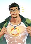 1boy bandaid bandaid_on_face bandaid_on_nose bara bare_chest character_request chest covered_abs covered_nipples facial_hair glasses goatee highres jacket live_a_hero male_focus manly multicolored_hair muscle one_eye_closed open_clothes open_jacket see-through shirt short_hair sideburns solo streaked_hair two-tone_hair undressing upper_body wet wet_clothes wet_shirt whistle zifuuuun