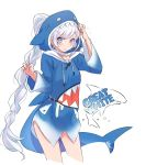 1girl blue_eyes blue_hoodie cosplay earrings gawr_gura gawr_gura_(cosplay) highres hololive hololive_english iesupa jewelry long_hair ponytail rwby scar scar_across_eye shark shark_costume shark_girl shark_hood shark_print shark_tail silver_hair tail virtual_youtuber weiss_schnee white_hair