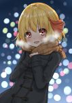1girl :d alternate_costume black_coat blonde_hair blurry blush bokeh breath coat commentary_request depth_of_field dutch_angle eyebrows_visible_through_hair eyes_visible_through_hair fang gradient gradient_background hair_ribbon hands_together highres looking_at_viewer medium_hair nose_blush open_mouth plaid plaid_scarf red_eyes red_ribbon ribbon rumia scarf scarlet_mirin smile touhou upper_body