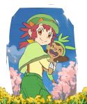^_^ ^o^ aono_wo brown_eyes character_request closed_eyes green_capelet green_headwear green_pants looking_at_viewer pants pokemon ponytail redhead smile tagme