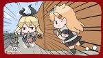 2girls black_hairband black_ribbon black_serafuku black_skirt blonde_hair blue_sailor_collar blue_skirt blue_sky blush_stickers border cellphone chibi clouds commentary_request crop_top day elbow_gloves emphasis_lines gloves hair_flaps hair_ornament hair_ribbon hairband hairclip holding holding_phone kantai_collection long_hair looking_at_phone microskirt miniskirt multiple_girls neckerchief outdoors phone pleated_skirt poipoi_purin red_border red_neckwear remodel_(kantai_collection) rensouhou-chan ribbon running sailor_collar scarf school_uniform serafuku shimakaze_(kantai_collection) shirt skirt sky sleeveless sleeveless_shirt smartphone striped striped_legwear thigh-highs triangle_mouth twitter_username white_gloves white_scarf yuudachi_(kantai_collection) |_| ||_||