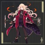 1girl belt black_footwear black_gloves black_legwear blonde_hair cape fire flantulle_mobius full_body gloves gradient_hair highres holding licking_lips long_hair multicolored_hair nisei_(tanny) pantyhose pixiv_fantasia pixiv_fantasia_last_saga red_cape red_eyes sheath simple_background standing tongue tongue_out very_long_hair