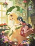 1girl barefoot bayleef book bottle closed_eyes day drawer eyelashes flower gen_1_pokemon gen_2_pokemon green_towel hair_ornament hairclip highres indoors long_hair looking_back nagakura_(seven_walkers) oddish open_mouth pink_flower plant pokemon pokemon_(creature) potted_plant red_towel riding_pokemon shorts sitting standing toes towel wet window