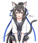 1girl animal_ear_fluff animal_ears apron black_apron black_hair cat_ears cat_tail commentary_request cowboy_shot dated hair_ribbon highres i-47_(kantai_collection) kantai_collection leaning_forward long_hair looking_at_viewer low-tied_long_hair official_alternate_costume ponytail ribbon shirt short_sleeves sidelocks signature simple_background solo standing tail tk8d32 tress_ribbon white_background white_shirt