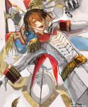 1boy akechi_gorou belt brown_hair capelet dated epaulettes gloves hair_between_eyes hand_on_own_chest highres long_sleeves male_focus nagasawa_tougo open_mouth persona persona_5 red_eyes solo twitter_username uniform white_gloves