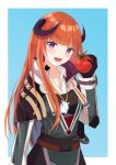 1girl :d arknights bagpipe_(arknights) bangs black_gloves blue_background border commentary_request doku-doku eyebrows_visible_through_hair food gloves hand_up head_tilt high_collar highres holding holding_food horns jacket long_hair long_sleeves looking_at_viewer open_mouth orange_hair outside_border partial_commentary smile solo tomato upper_body very_long_hair violet_eyes white_border