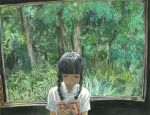 1girl bangs black_hair blunt_bangs book braid bug cicada closed_eyes collared_shirt dress_shirt facing_viewer hands_up highres holding holding_book indoors insect long_hair low_twintails minahamu nature open_book original reading shirt short_sleeves solo traditional_media tree twin_braids twintails upper_body white_shirt window