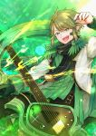 1boy :d belt black_neckwear cole_clarks gloves green_background green_eyes green_gloves green_hair highres instrument jacket long_sleeves male_focus multicolored_hair music nekogu_rui open_mouth pixiv_fantasia pixiv_fantasia_age_of_starlight playing_instrument plectrum pointy_ears single_glove smile solo streaked_hair