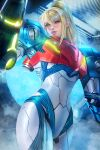 1girl arm_cannon ayya_sap fog formal looking_at_viewer metroid metroid_dread mole mole_under_mouth parted_lips ponytail power_armor samus_aran smile solo suit weapon