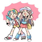 2girls ^_^ absurdres aqua_legwear aqua_shirt bag bandana bike_shorts black_wristband blue_hair brown_hair clenched_hand closed_eyes cropped_jacket crying gotcha! hands_on_own_head hat highres hiziki723 jacket kris_(pokemon) leaf_(pokemon) long_hair loose_socks messenger_bag multiple_girls pleated_skirt pokemon pokemon_(game) pokemon_frlg pokemon_gsc red_shorts red_skirt shirt shorts shoulder_bag skirt sleeveless sleeveless_shirt smile streaming_tears tears twintails vs_seeker white_headwear white_jacket wristband yellow_bag