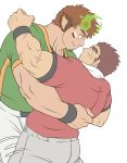 2boys animal_ears bara blush brown_hair couple cow_ears eye_contact facial_hair flat_color forked_eyebrows glowing_horns goatee gunzo_(tokyo_houkago_summoners) horns hug imminent_kiss looking_at_another male_focus multiple_boys muscle rugby_uniform scar short_hair short_sleeves sideburns sportswear sunfight0201 thick_eyebrows tokyo_houkago_summoners wakan_tanka yaoi