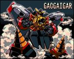character_name clenched_hand gaogaigar looking_down mecha no_humans okuya open_hand pixel_art red_eyes solo super_robot yuusha_ou_gaogaigar yuusha_series