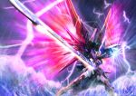 absurdres destiny_gundam energy_sword energy_wings flying glowing glowing_hand green_eyes gundam gundam_seed gundam_seed_destiny highres holding holding_sword holding_weapon huge_filesize looking_down mecha no_humans ocean open_hand propro13 solo sword v-fin weapon
