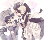 2girls animal_ears antelope_ears antelope_horns black_cape black_hair black_neckwear blackbuck_(kemono_friends) blue_skirt blue_sweater bow bowtie cape commentary_request common_raccoon_(kemono_friends) elbow_gloves extra_ears eyebrows_visible_through_hair fur_collar gloves grey_hair hair_over_one_eye heart highres holding_hands kemono_friends kolshica multicolored_hair multiple_girls pleated_skirt puffy_short_sleeves puffy_sleeves raccoon_ears raccoon_girl raccoon_tail red_eyes shirt short_hair short_sleeves shorts skirt sweater tail white_fur white_hair white_neckwear white_shirt white_shorts