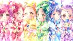 6+girls akimoto_komachi blue_flower blue_rose bug butterfly cure_aqua cure_dream cure_lemonade cure_mint cure_rouge everyone eyebrows_visible_through_hair flower hair_ornament highres insect kasugano_urara_(yes!_precure_5) looking_at_viewer milk_(yes!_precure_5) milky_rose mimino_kurumi minazuki_karen multiple_girls natsuki_rin precure rose smile touki_matsuri white_background yes!_precure_5 yes!_precure_5_gogo! yumehara_nozomi