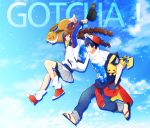 1boy 1girl arms_up baggy_pants baseball_cap bike_shorts blue_hair brown_hair closed_mouth commentary copyright_name eevee gaedo gen_1_pokemon gotcha! gotcha!_boy_(pokemon) gotcha!_girl_(pokemon) grey_skirt hand_in_pocket hat headwear_removed highres holding holding_pokemon jacket leg_warmers pants pikachu pleated_skirt pokemon pokemon_(creature) sandals skirt smile teeth tied_hair toes twintails white_legwear zipper
