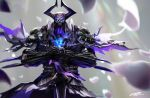 1boy armor blue_eyes breastplate cape commentary_request falling_feathers fate/grand_order fate_(series) gauntlets glowing glowing_eyes greatsword hands_on_hilt highres horned_headwear horns king_hassan_(fate/grand_order) looking_at_viewer male_focus mrpk pauldrons planted_sword planted_weapon purple_cape shoulder_armor signature skull skull_mask solo sword upper_body weapon