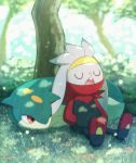 blurry blurry_background closed_eyes commentary_request fang gen_2_pokemon gen_8_pokemon grass hands_in_pockets lying no_humans on_stomach one_eye_closed open_mouth pokemon pokemon_(creature) quilava raboot red_eyes shade signature sitting tem_(mimoteurur013) tongue tree watermark