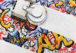 acrylic_paint_(medium) arrow_(symbol) caterpillar_tracks chain cleaning english_text eyes graffiti no_humans original robot scratches senzaki-ryosuke sound_effects spray_paint squid traditional_media