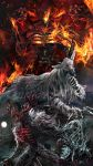 antlers blindfold blood bloodborne burning claws cleric_beast commentary_request copyright_name cowboy_shot embers english_text facing_viewer fire full_moon fur hands_up highres holding holding_jewelry holding_necklace jewelry laurence_the_first_vicar looking_away monster moon mrpk necklace no_humans open_mouth pendant ribs roaring squatting teeth upper_body vicar_amelia