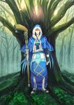 1boy belt blue_hair capelet cu_chulainn_(fate)_(all) cu_chulainn_(fate/grand_order) earrings fate/grand_order fate_(series) forest full_body fur fur-trimmed_hood fur_trim greaves harem_pants holding holding_weapon hood hood_up hooded_capelet jewelry long_hair nature outdoors pants red_eyes sandals solo staff standing toes tree type-moon very_long_hair weapon xx_(pekepeke)