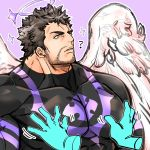 1boy 1other angel angel_wings bara beard black_bodysuit black_hair bodysuit chest facial_hair feathered_wings grabbing groping groping_motion halo highres kizami_nori_to_yamaimo male_focus manly muscle nether_angel_(tokyo_houkago_summoners) pectoral_grab short_hair stubble tokyo_houkago_summoners upper_body wings