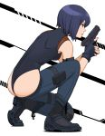 1girl arm_pouch ass black_eyes black_gloves black_leotard boots breasts combat_boots commentary_request fingerless_gloves fingernails flat_ass from_side full_body ghost_in_the_shell gloves gun handgun highleg highleg_leotard highres holding holding_gun holding_weapon holster kusanagi_motoko leotard lowleg lowleg_pants one_knee pants pistol purple_hair shigenobu short_hair single_knee_pad sleeveless small_breasts solo thigh_holster trigger_discipline weapon