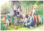 6+boys aqua_eyes bandana black_hair black_legwear blonde_hair blue_eyes blue_hair brown_hair bucket collared_shirt flower flower_pot food fox fruit fudou_yukimitsu heshikiri_hasebe honebami_toushirou japanese_clothes kneehighs konnosuke ladle leaf male_focus mikazuki_munechika morning_glory multiple_boys open_mouth pants ponytail purple_hair sandals sayo_samonji shirt shorts sliding_doors smile squatting touken_ranbu towel towel_around_neck track_suit violet_eyes walking watermelon white_hair wind_chime yamanbagiri_kunihiro yuma_(yuma001959)
