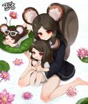 3girls absurdres animal_ear_fluff animal_ears bangs barefoot black_dress black_hair blush chibi closed_eyes closed_mouth commentary_request commission crossed_arms dokomon dress eyebrows_visible_through_hair eyewear_on_head flower highres hug hug_from_behind korean_commentary lily_pad long_hair looking_at_viewer lotus lying minigirl multiple_girls on_stomach open_mouth original parted_bangs pink_flower red_eyes shirt short_sleeves sitting squirrel_ears squirrel_girl squirrel_tail tail tail_raised very_long_hair wariza white-framed_eyewear white_dress white_shirt