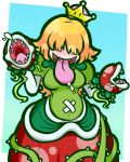 1girl :d bangs belly blonde_hair blue_background border breasts commentary_request covered_eyes crown dress facing_viewer flipped_hair gradient gradient_background green_background green_dress hair_over_eyes highres kafuka5364 long_hair long_tongue mario_(series) medium_breasts mini_crown multicolored multicolored_background new_super_mario_bros._u_deluxe open_mouth outside_border piranha_plant plant polka_dot_hair polka_dot_skirt princess_piranha_plant puffy_short_sleeves puffy_sleeves red_skirt saliva shaded_face sharp_teeth short_sleeves simple_background skirt smile solo super_crown teeth thorns tongue tongue_out vines white_border