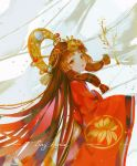 1girl artist_name bangs brown_eyes brown_hair character_request commentary_request headpiece japanese_clothes kimono long_hair long_sleeves looking_at_viewer looking_back onmyoji pixiv_id red_kimono say_hana sidelocks signature sleeves_past_fingers sleeves_past_wrists solo twitter_username very_long_hair wide_sleeves