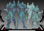 absurdres character_sheet colored_pencil_(medium) hand_on_hip highres looking_down mecha multiple_views neon_genesis_evangelion no_humans original standing traditional_media visor ztb0000