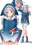 1girl bangs blue_hoodie blush cosplay gawr_gura gawr_gura_(cosplay) hair_ornament hat highres hololive hololive_english long_hair looking_at_viewer murasaki_shion silver_hair smile solo virtual_youtuber white_hair zeroyama