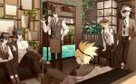 6+boys animal aotu_world belt black_hair blonde_hair blue_eyes blush book bookshelf brown_footwear brown_hair brown_headband brown_headwear brown_neckwear chair clear_regulus clock closed_mouth couch crossed_legs cup drinking_straw earrings fish fish_tank frame hair_between_eyes hand_in_pocket hat headband holding holding_plate indoors jewelry leaning looking_at_another looking_at_viewer looking_back male_focus multiple_boys necktie off_shoulder open_mouth plant plate pointy_ears potted_plant shell single_earring sitting smile standing starfish vines violet_eyes waiter water white_hair wooden_floor yellow_eyes