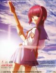 album_cover angel_beats! backlighting blue_skirt clouds cover cowboy_shot highres holding holding_instrument instrument iwasawa looking_back non-web_source official_art red_eyes redhead scan school_uniform serafuku skirt sky smile sunlight