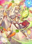 animal animal_ears carrot day dress fire_emblem fire_emblem_cipher fire_emblem_heroes food gloves grey_hair hair_ornament horse long_hair official_art outdoors pantyhose puffy_short_sleeves puffy_sleeves rabbit_ears red_eyes short_dress short_sleeves umiu_geso veronica_(fire_emblem) white_dress white_legwear