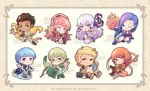 4boys 4girls :q axe blonde_hair blue_hair boots bow_(weapon) braid brown_eyes brown_hair cape cat character_name chibi claude_von_riegan crown_braid dakiarts dark_skin dark_skinned_male dress earrings fire_emblem fire_emblem:_three_houses fish freikugel_(weapon) glasses gloves green_eyes green_hair grin hair_ornament highres hilda_valentine_goneril holding holding_axe holding_bow_(weapon) holding_weapon ignatz_victor jewelry leonie_pinelli long_hair long_sleeves lorenz_hellman_gloucester lysithea_von_ordelia marianne_von_edmund multiple_boys multiple_girls one_eye_closed orange_eyes orange_hair pink_eyes pink_hair polearm ponytail purple_hair quiver raphael_kirsten red_gloves short_hair sitting smile tongue tongue_out twitter_username violet_eyes weapon white_hair white_legwear yellow_cape