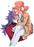 1boy 1girl blush carrying closed_eyes couple dark_skin dark_skinned_male eyewear_on_head facial_hair forehead_kiss hair_ornament heart heart_hair_ornament hetero highres kiss leon_(pokemon) long_hair nail_polish one_eye_closed orange_hair pokefan_cheng pokemon pokemon_(game) pokemon_swsh purple_hair side_ponytail sonia_(pokemon) sunglasses trench_coat yellow_eyes