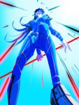 1boy blue_hair bodysuit cu_chulainn_(fate)_(all) earrings fate/stay_night fate_(series) from_below gae_bolg holding holding_weapon jewelry lancer light_trail long_hair looking_at_viewer nokolight0616 polearm red_eyes skin_tight solo spear spiky_hair type-moon weapon